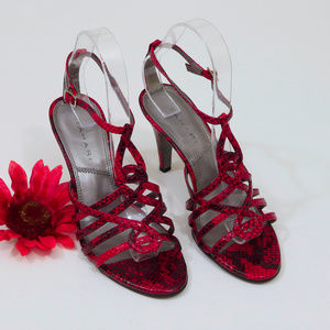 EUC Tahari Red & Black Faux Snakeskin Strappy Heel